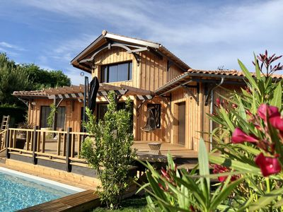 Photo for Wooden house Lège Cap Ferret until 10 pers - Private pool quiet and rest