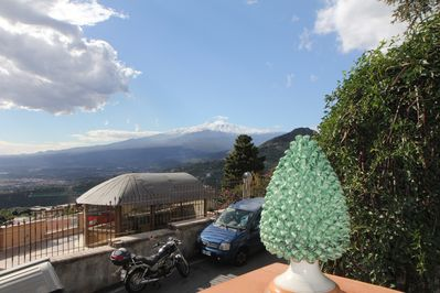 Terrace with view on Mount Etna