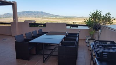Living & Dining on a vast terrace - 22 paces along the front & 15 at paces side