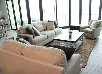 Living area - sleeper sofa, loveseat, swivel rocker