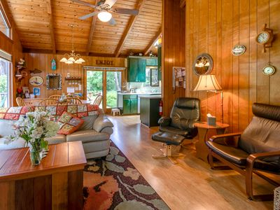 Photo for Ocean view cabin w/ deck and garden, a short walk to the beach and lighthouse!