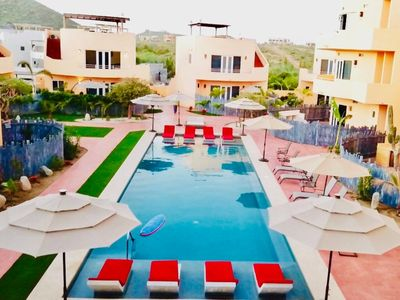 Photo for Ground floor, 2 Beautiful Swimming Pools, few hundred steps to Cerritos Beach