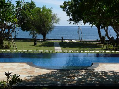 Photo for Peaceful Beachfront Villa with Pool, Boat and Staff