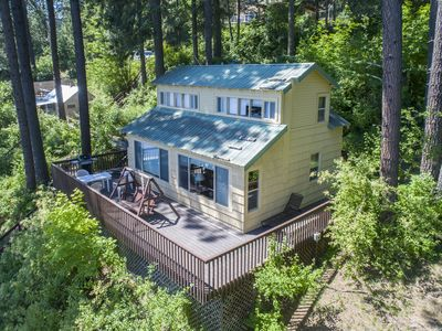 Photo for 225' lakefront on Hayden Lake, 45' deck, water trampoline, non-smokers, no pets.