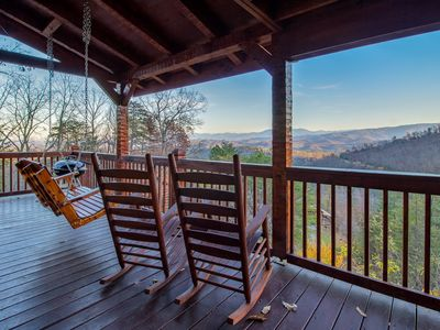 Photo for Awesome Views Private 1BR  Great Honeymoon Cabin Hot Tub Jacuzzi Fireplace Pool Table Covered Decks