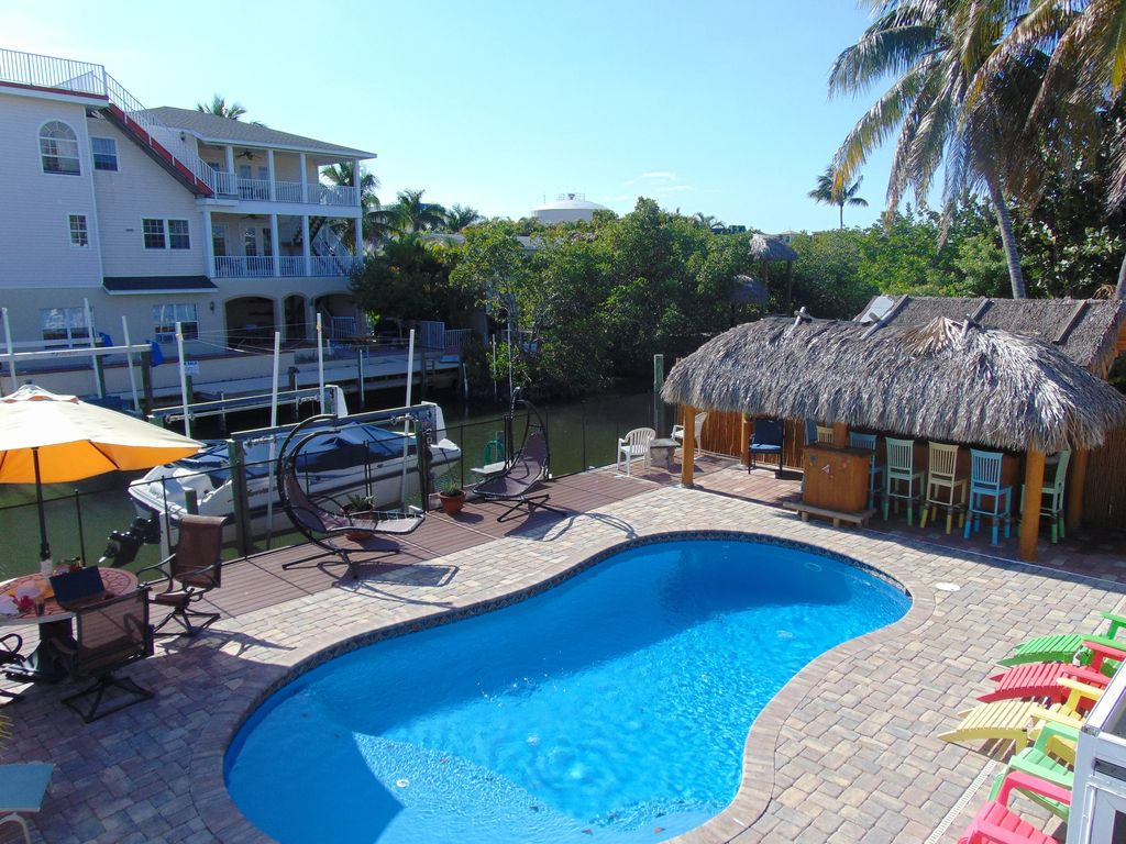 Amazing pool canal tiki bar home near times square and the for Alarme piscine home beach