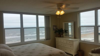 Oceanfront Master Bedroom, King Bed and Flat Screen TV.