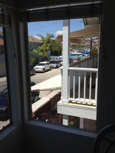 View from upstairs window we are steps to sand and public dock
