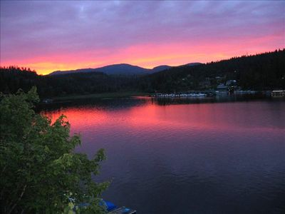 Typical summer sunset from our large  deck looking West into Rockford Bay.