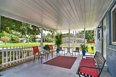 Relax on the covered patio and enjoy the warm weather.