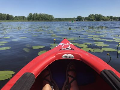 Lost Lake entry from our channel.-2 kayaks included as well as pontoon/row boat