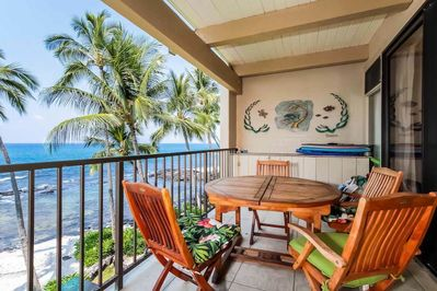 Patio table on lanai with ocean view
