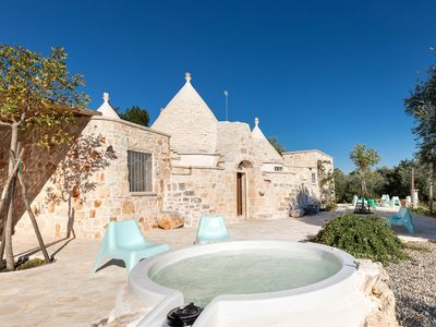 Photo for Trullo design - indoor SPA pool - Outdoor Jacuzzi - stunning terrace
