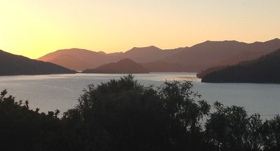 Sunset view of the Kenepuru Sound from the terrace/balcony