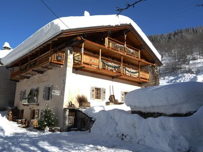 Photo for AUTHENTIC CHALET IN SKI combining OLD WOOD AND CONTEMPORARY