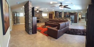 """Spacious Living room with 55"""" smart TV, cable and blue-ray player"""