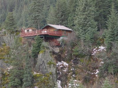 Photo for A Cabin on the Cliff - Refurbished Old Trappers Cabin