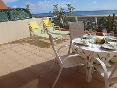 Photo for Luxury apartment, free Wifi, overlooking the lighthouse and beach Jandia