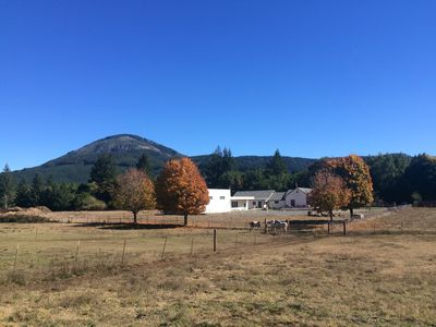 Old photo of school in fall