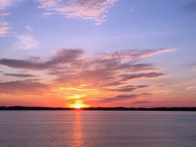 Photo for 120'  PRIVATE WHITE SAND BEACH, ON EAST GRAND TRAVERSE BAY, SPECTACULAR SUNSETS