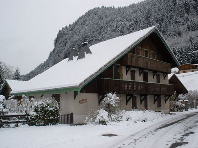 Snow covered Chalet Alys