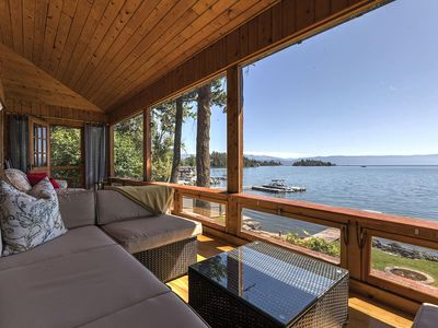 1940 Lake Cabin with stunning views of Flathead Lake and the Mission Mountains.