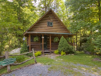 Photo for ONE OF A KIND Cabin on Rushing WATERFALLS, HOT TUB, CONVENIENT, WIFI