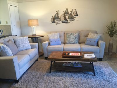 New living room furniture with queen pull out sleeper.