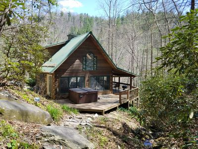 Photo for Social distancing on 10 ACRES!!  Bargain rates M-T-W!! WATERFALL, hot tub!