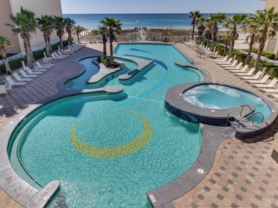 Photo for Inviting Gulf view condo w/ balcony & multiple pools, lazy river & hot tub!
