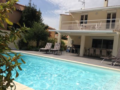 Photo for 2x80m2 air-conditioned villa, classified 5 *, 9/11 pers, pisc. heated, 7km beach, ANCV