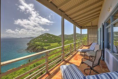 Enjoy fantastic views of the ocean and lush countryside from the balcony.