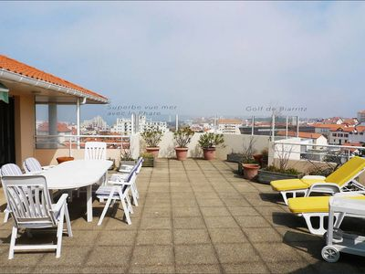Photo for Large luxury apartment center of Biarritz with terrace and sea view!