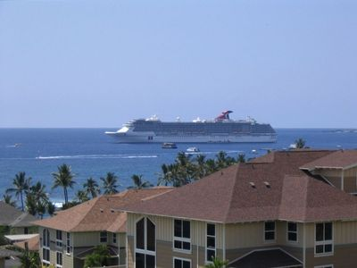 Watch the cruise ships in the harbor from the lanai