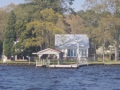 Photo for Modern Farmhouse Cottage on water with dock