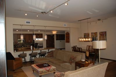 Open family room, dining and kitchen