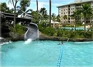 Waterslide is part of an expansive pool