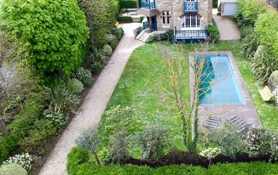 Photo for Deauville with heated pool Beautiful villa Golden Triangle 100 Meters Beach.