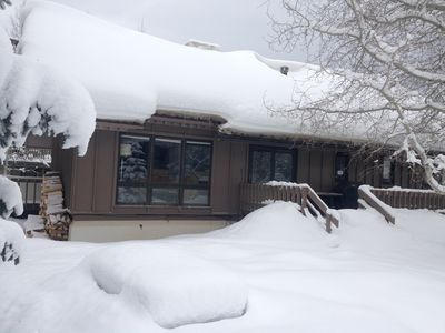 Historic home in Vail. Chalet in Winter - side view, side entrance from deck