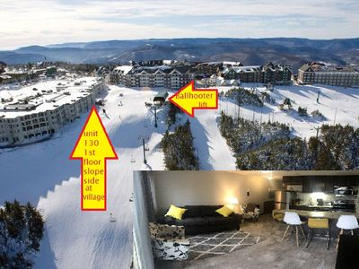 Photo for UPDATED! 1st Fl. Slopeside. AC. Ski in/out. Looks at Ballhooter. Sleeps 4ad/2