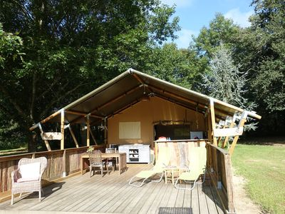 Photo for luxury furnished glamping rental tent on small-scale glamping in Lot et Garonne