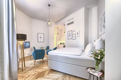 Living and sleeping area - comfortable king-sized double bed and Smart TV
