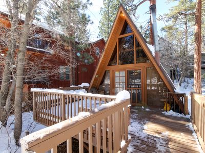 Photo for Cozy, clean A-frame cabin with wood stove & deck close to skiing and the lake