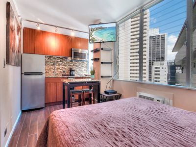 Photo for Perfect Perks! New Kitchenette w/Frig, Dining Table, WiFi, AC, TV–Waikiki Grand 800