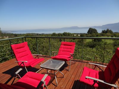 Sunny Deck. Comfy Chairs. Panoramic View of Lake Villarrica, Mountains, Pasture
