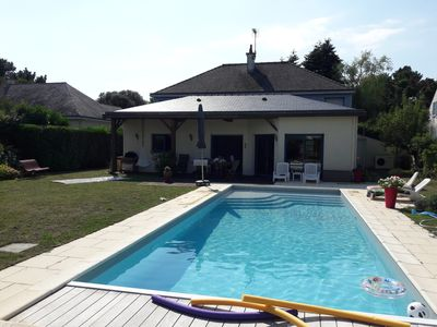 Photo for House 10/12 people with heated pool, quiet, near Escoublac