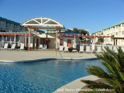 Main Pool and Gazebo - our condo is in the building on the right