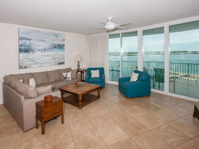 Photo for Back Bay water views from 4th floor   In/Out/Kiddie pools, Hot tub, Sauna, Fitness, Lazy river, Wifi