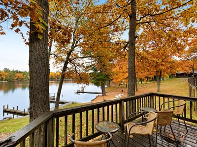 Photo for Cozy cabin w/ shared dock, tennis court, private deck & lake views - dogs OK