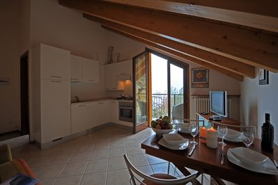 Living Room/Kitchen with balcony